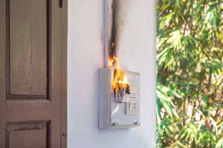 fuse box on fire