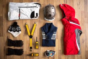 Ski wear in flat lay