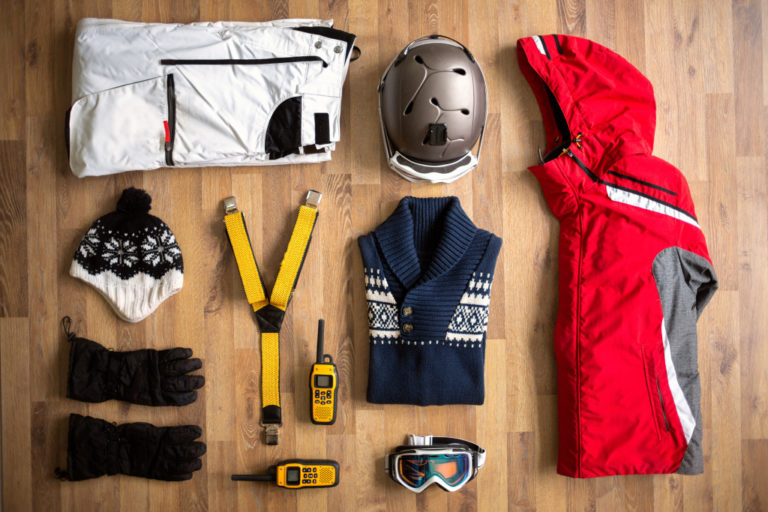 Ski wear in flat lay
